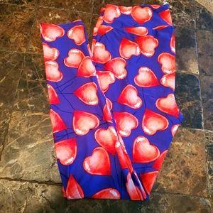 Lularoe TC 2-12 Blue Red Heart Ballon leggings NEW